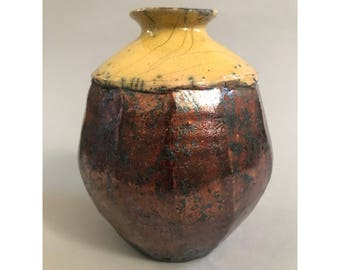 Small faceted Raku vase