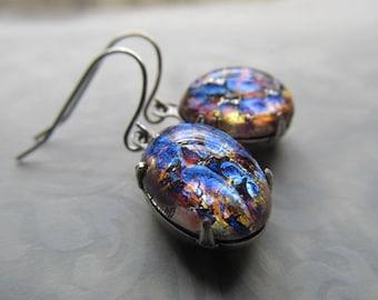 Silver Fire Opal Earrings Art Deco Earrings Purple Art Nouveau Jewelry 1920s Miss Fisher Earrings- Mysterious