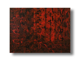 """Large abstract contemporary painting 40""""x30""""x""""1.75 Gallery canvas """"Red420"""" by K. Davies"""