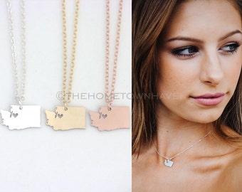 Washington State Necklace - I heart Washington necklace, Washington necklace