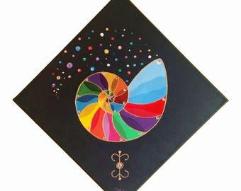 Rainbow nautilus with fairy symbol Amar Nat (Love), 40 x 40 cm