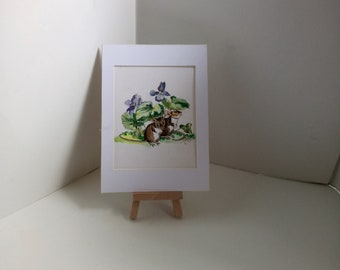 acrylic painting,mice sheltering,flower painting,violet flowers,childrens illustration,nursery painting,whimsical painting