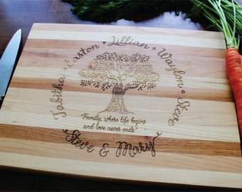Mothers Day Gift, Personalized Cutting Board, Family Tree, Names, Wedding, Anniversary, Housewarming, Wood Cutting Board, Engraved Cutting