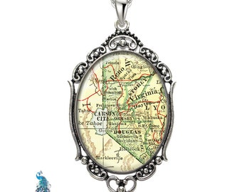 Vintage Map Necklace Oval Filigree Pendant City of Carson City Nevada Antique Map Pendant State of NV Map Jewelry Destination Travel