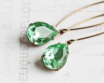 Mint Green Earrings, Rhinestone Drop Earrings on Antiqued Brass Marquise Wires, Long Green Dangles, Retro Style Jewelry
