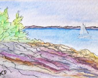 Original Miniature Art Gouache Painting ACEO Seascape Massachusetts Small Artist Trading Card Kathleen Daughan Western Avenue Artist
