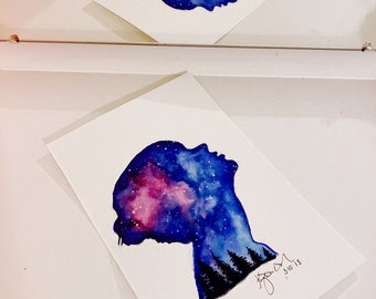Taylor Swift Style Silhouette Watercolor