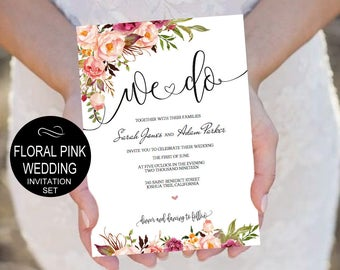 Pink Peonies We Do Wedding Invitation Template Set - Watercolor Floral Invite-DIY Printable Invitations-PDF-Download Instantly | VRD156AWY