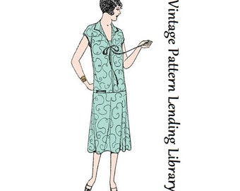 1927 Ladies Long Waisted Dress - Reproduction Sewing Pattern #Z7057