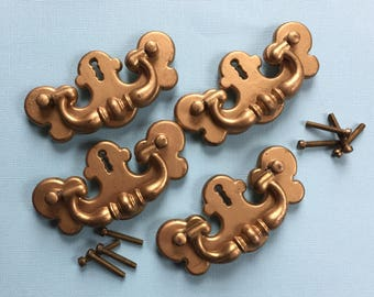Antique Gold Tone Drawer Pulls Set of 4 Drawer Handles Metal Handles Made in USA Furniture Accessory Early American Design Pulls