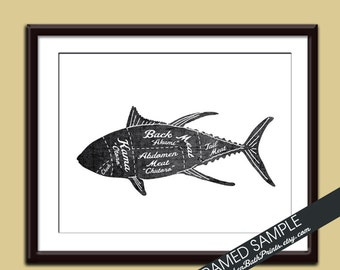 FISH (Butcher Diagram Series) - Art Print (Featured in Vintage Chalkboard and White) Customizable Kitchen Prints
