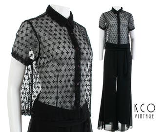 3c54b08060345 Vintage 1990 s Sheer Black Mesh Lace Top Women s Size M - L   1990 s Floral  Collared