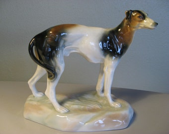 AMPHORA Czechoslovakia pottery Dog Art Deco period Bohemian Amphora porcelain Dog figurine. 1920s