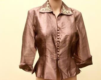 1940s Metallic Peplum Jacket