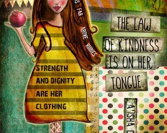 art print, mixed media art, whimsical girl art, jewish art, inspirational wall art, inspirational artwork, inspirational print