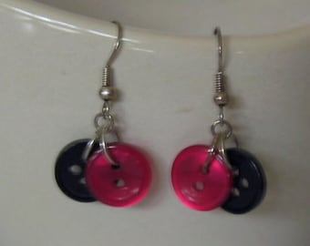 Hot Pink and Black Tiny Button Earrings
