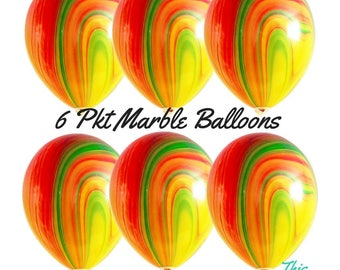 6 x Marble Balloons Tie Dye - Red, Orange, Yellow & Green Birthday Party Decoration