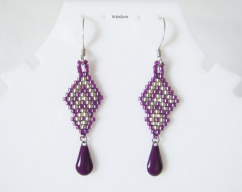 Woven beads purple and silver, brass hook earrings