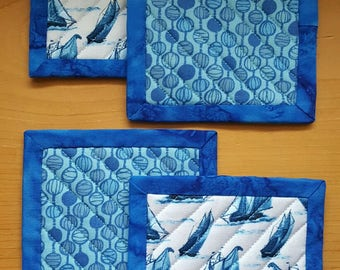 Quilted Coaster Set - Ships and Blue Graphics