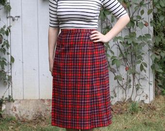 Tartan plaid pendleton wool wrap around midi skirt