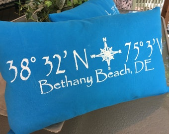 Bethany Beach, DE throw pillow, latitude longitude pillow in turquoise canvas duck cloth