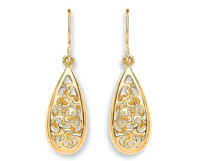 9ct Yellow Gold Filigree Tear Drop Heart Drop Hook Earrings