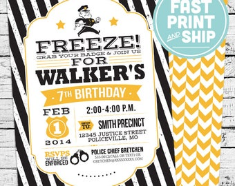 Printed Police Birthday Invitations and Envelopes