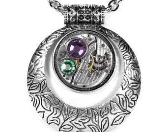 Steampunk Jewelry Necklace Vintage Watch, Silver Tribal Boho Jewelry, AMETHYST PERIDOT Crystal Mothers Day GORGEOUS - by Steampunk Boutique