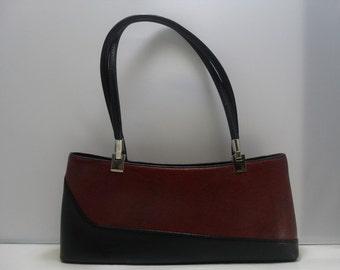 French Style Hand Bag / Vintage Reddish Brown and Black Vinyl Hand Bag / Ladies Accessories