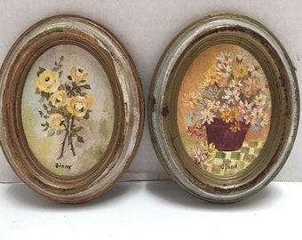 2 Italy Miniature Floral Oil paintings Gold Florentine Oval Frames Signed Ginny Italian