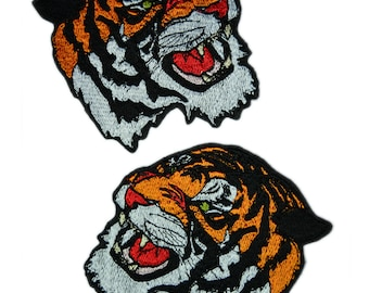 2 Pcs. Tiger patch Embroidered patch Iron on patch Bag patch Patches for jackets Animal patch Various sizes and colors