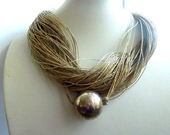 Silver Pearls Macramé Necklace Linen Necklace Natural Necklace
