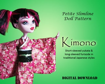 Kimono Japanese dress doll sewing clothes pattern for Petite Slimline Fashion girl: DC, High, Monster, Ever After, Dal, Obitsu & Super Hero