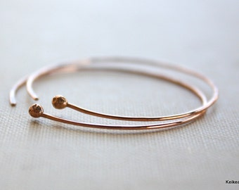 Copper Hoop Earrings , Handmade Jewelry