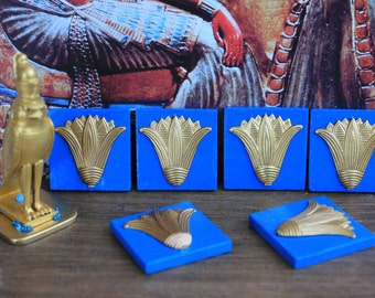 Dollhouse miniature 6 Egyptian turquoise tiles with golden lotus flower