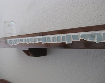 Narrow Redwood and Mosaic Tile Shelf
