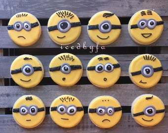 Minions Sugar Cookie | perfect for birthday party or as party favors | 1 Dozen.