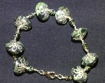 Ocean Jasper and Swarovski Crystal Bracelet