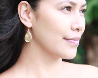 Hammered Teardrop Earrings, Shiny Gold Vermeil Earrings, Isla Earring