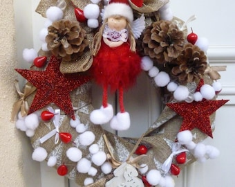Beige, white, red Christmas wreath, fairy, snowflakes: Noel Miribel