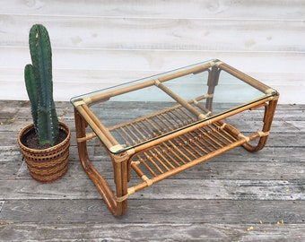Two Tiered Rattan Coffee Table Franco Albini Style