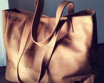 Tan Leather Tote Bag. Handmade genuine leather tote,Traditional shoulder tote bag, Leather tote bag,tote bag,shoulder bag