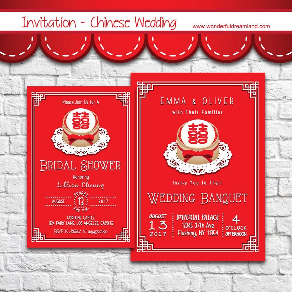 Chinese Wedding Invitation 2 PDF JPG DOC Instant Download