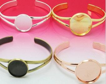 10pcs 25mm round setting Blank Bracelet Cuff, bracelet blanks, Bezel Bracelet Blank, Bracelet Tray, Bezel Cuff