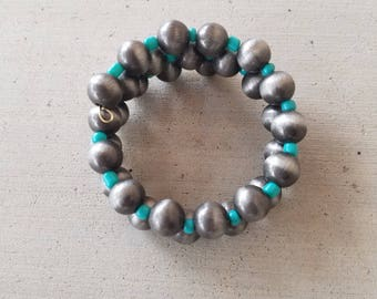 Turquoise and Silver Navajo Pearls Bracelet