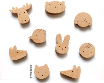 Fridge magnets - Set of 4 wooden magnets, Kids magnets, Kids room decor, Playful wooden magnets, Magnets for boards, Magnets sets for kids