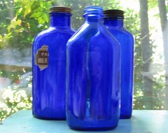 Three Vintage Cobalt Blue Bottles 2
