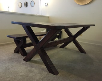 X- brace Trestle Dining Room Table