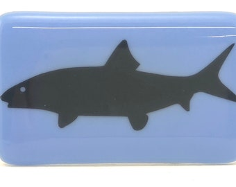 Bonefish fused glass belt buckle