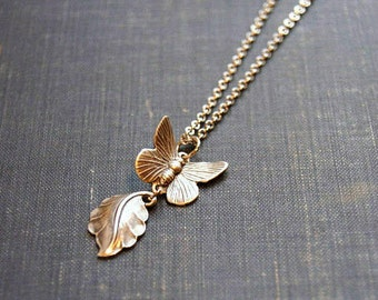 Silver Butterfly Necklace Silver Leaf Necklace Butterfly Wing Jewelry Butterfly Leaf Necklace Silver Pendant Jewelry Nature Butterfly Jewel